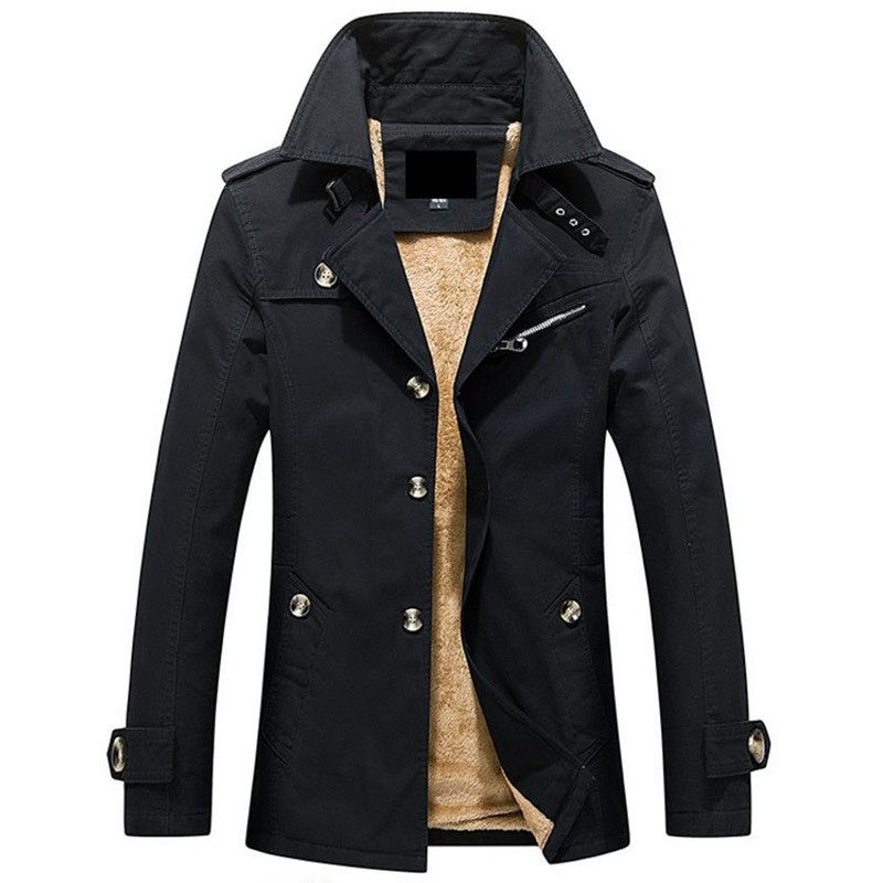 Hot autumn and winter warm men s jacket casual jacket in the long Solid color men s coat ...