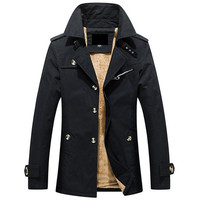 Hot Autumn And Winter Warm Men S Jacket Casual Jacket In The Long Solid Color Men