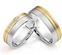 Ателье Европейский стиль хирургической нержавеющей стали titanium тонкой обручальные кольца пар комплекты с золотым напылением