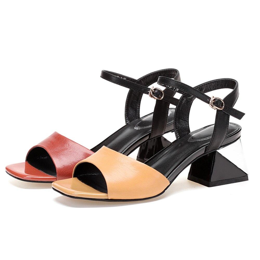 923bdb994a175 Mujeres yellow Alto Brown Tacón Cuero Genuino Red Mezclados Zapatos 2018  Nueva Colores Sandalias Moda Hebilla De Peep Verano Mujer Toe Masgulahe  wZiukTOPX