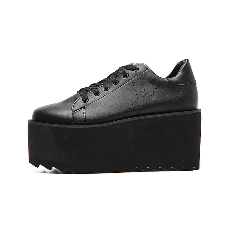 2018 Mode Plate multi Chaussures Noir Filles Épais Casual Noir Dentelle forme up blanc Appartements Femme blanc Harajuku Fond Footwears Creepers Femmes ddIHxr