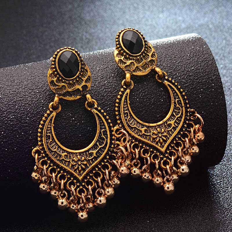 Gold Color Metal Tel Dangle Earrings