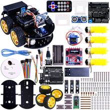 UNO Proyecto Inteligente Robot Car Kit con UNO R3, Sensor Ultrasónico, módulo Bluetooth, ect Juguetes educativos Coche Con CD