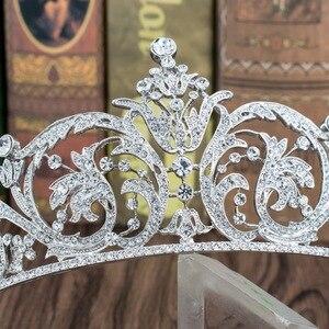 Image 4 - Classic Rhinestone Crystal 2/3 Round Wedding Bridal Tiara Crown Diadem Women Hair Accessories Jewelry XBY158L