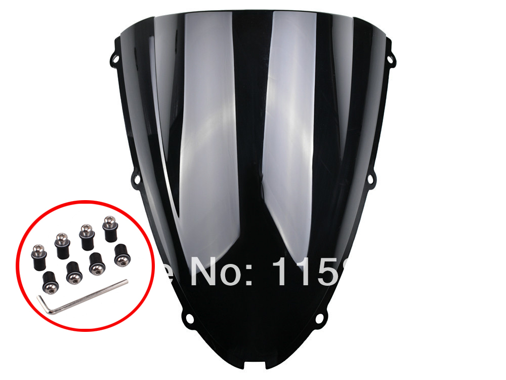 Black Windshield Windscreen For Kawasaki ZX6R 636 2005 2006 2007 2008 Free Shipping gt motor free shipping motorbike windshield deflector windscreen mounting screws for kawasaki er 6n er6n 2012 2016