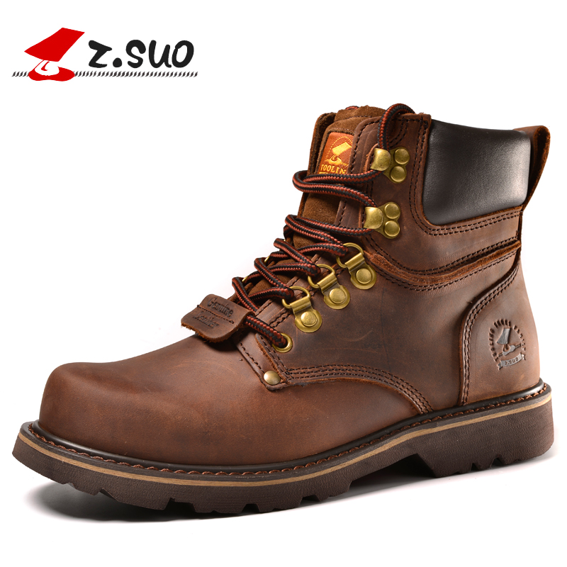 ZSUO Brand Winter Snow Boots Men 2018 Fashion Genuine Leather Casual Men's Boots Lace up Tactical Boots Leather Shoes for Men