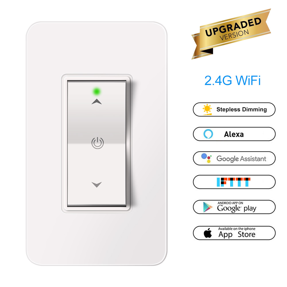 wireless smart light dimmer in wall 2 4ghz wifi light switch work with alexa google assistant. Black Bedroom Furniture Sets. Home Design Ideas