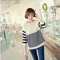 2015 Autumn Winter Striped Patchwork knitted Sweater Women All-match Stretch Female Pullovers