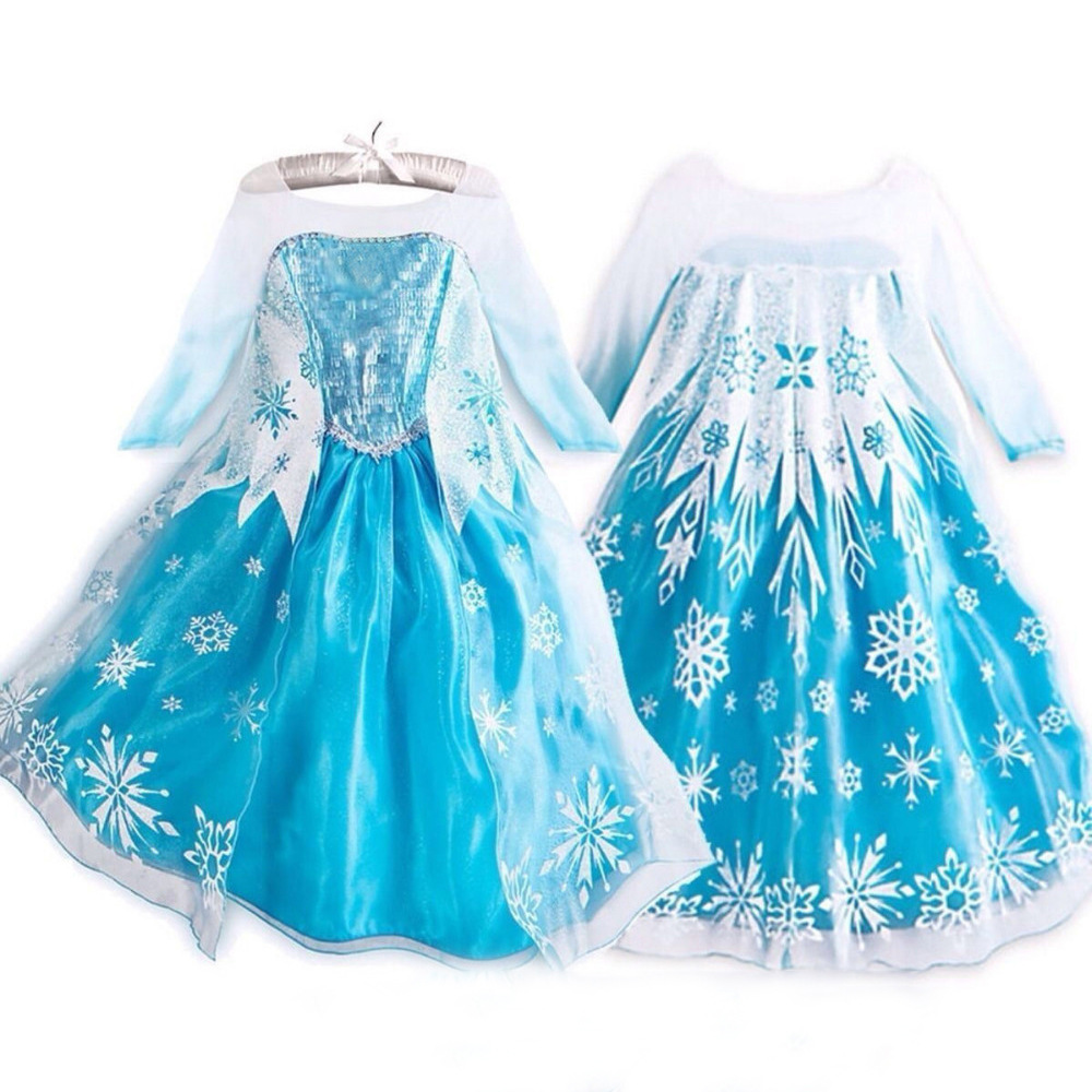 Queen Elsa Dresses Snow Queen Elsa Costumes Princess Anna Elsa Dress for Girls Dress Cosplay Elza Clothes Children Clothing 8 pcs set queen princess cinderella elsa anna little mermaid snow white alice princess pvc figures toys children gifts
