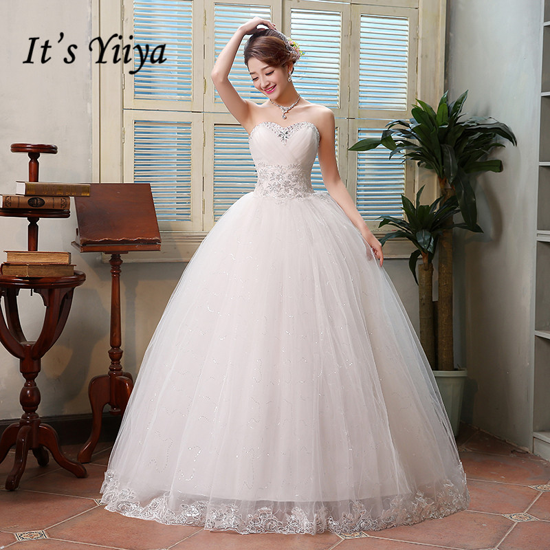 Summer Real Photo New 2017 Strapless Sequins Wedding Dresses Cheap Princess Floor Length Bride Frocks Vestidos De Novia HS122
