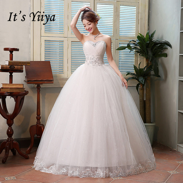 Verão Real Photo New 2017 Strapless Lantejoulas Vestidos de Casamento Barato Princesa Até O Chão Vestidos de Noiva Vestidos De Novia HS122