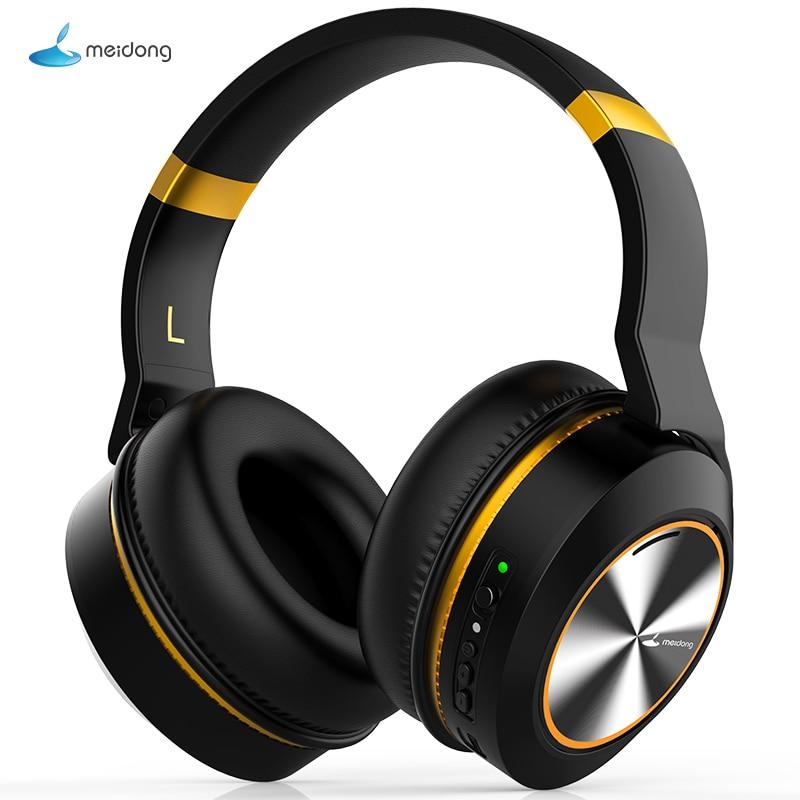 Meidong E8E riduzione attiva del rumore auricolare Bluetooth auricolare senza fili con microfono stereo profonda bass auricolare lunga durata della batteria