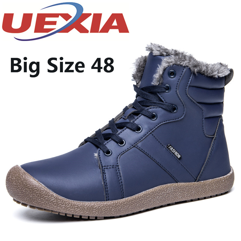 Big Size 36-48 Unisex Casual High Top Cotton Shoes Outdoor Warm Ankle Plush Shoes With Fur For Men Winter Fashion Snow Boots Man plus size 46 mens casual high top shoes winter warm plush ankle boots men shoes outdoor fashion cotton shoes mountain zapatos