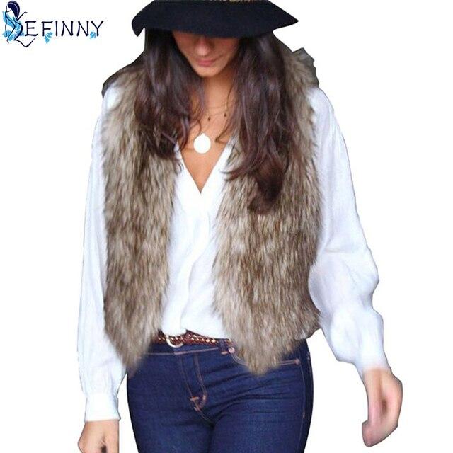 Winter Women Faux Fur Waistcoat Gilet Jacket Coat Sleeveless Outwear Short Vest
