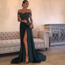 Dark Green 2019 Cheap Evening Dresses A Line Off Shoulder Floor-Length High Side Split Lace Elegant Long Prom Dress Formal