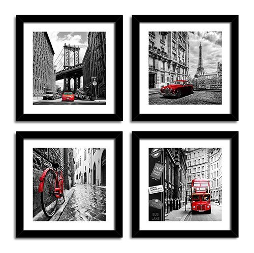 Canvas Painting Cityscape Black And White City Architecture Red Classic Vehicle Canvas Poster Painting Home Decoration No Frame