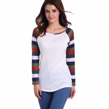 Spring new hot loose female T-shirt casual simple long-sleeved striped personality Slim