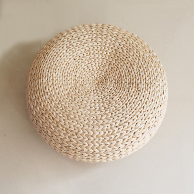 Us 48 95 Japanese Style Futon Round Stool Straw Steel Cytoskeleton Handmade Woven Seat Cushions Home Decor Sc1620 Free Shipping In Cushion From Home