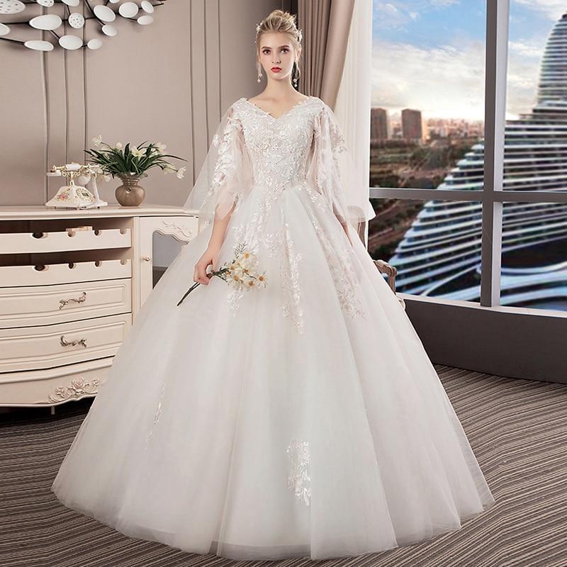 Celebrity Wedding Outfits 2019: V Neck Princess Wedding Dress 2019 Luxury Floor Length