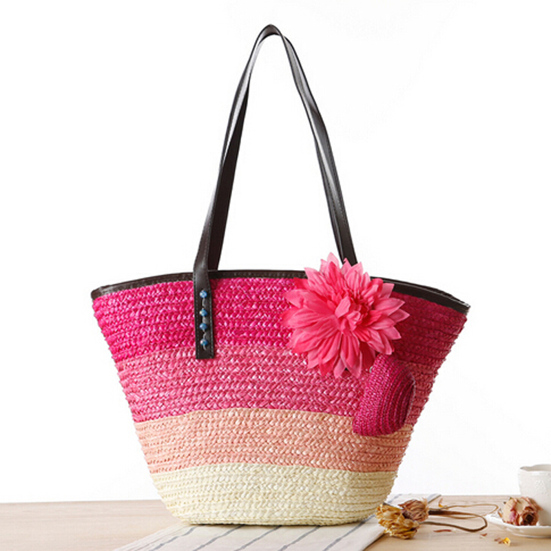 casual summer beach bag pretty flower cool straw beach bag holiday ...