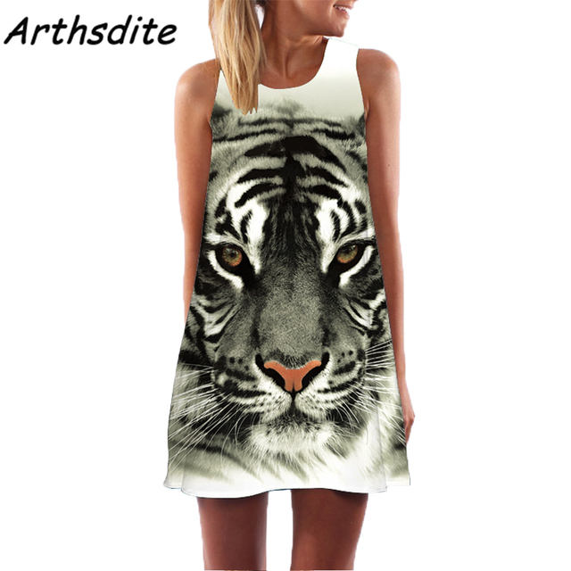 Arthsdite Tiger Design Women Digital Animal Print Summer Dress 2017 New Fashion Boho Beach Dashiki