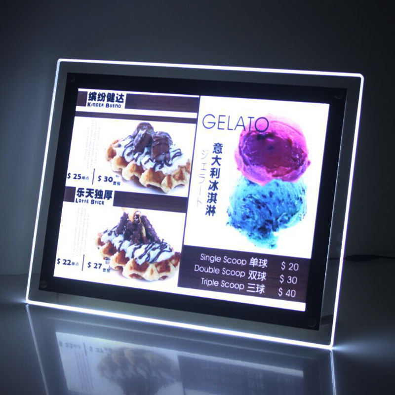 A3 Single Sided Tabletop Led Light Box LED Illuminated Panel for Cafe Tea Retail Stores