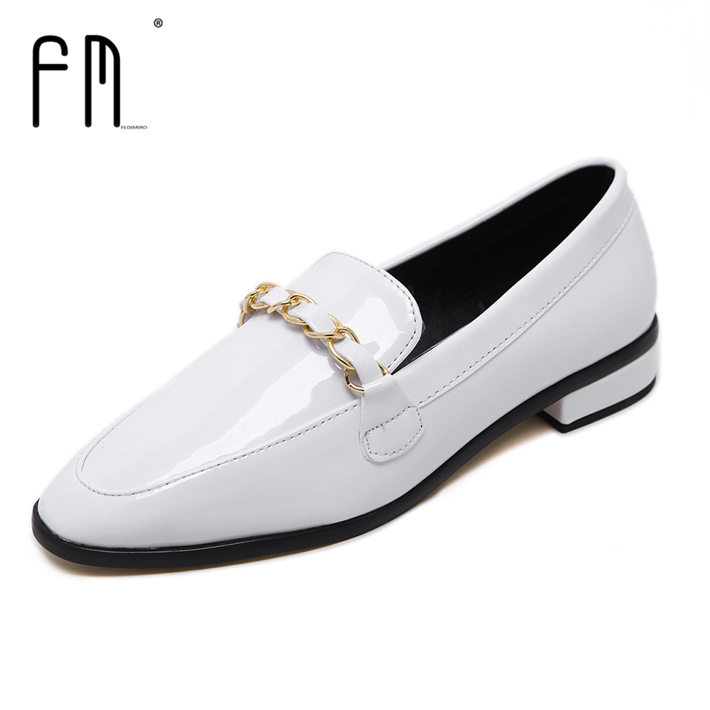 Brand FEDIMIRO Oxford Shoes for Women Patent Leather Pointed Toe Flat Loafers Oxford Woman Superstar Shoes, Hot sale brand fedimiro spring oxford shoes women patent leather pointed toe slip on flat loafers casual metal buckles ladies flats