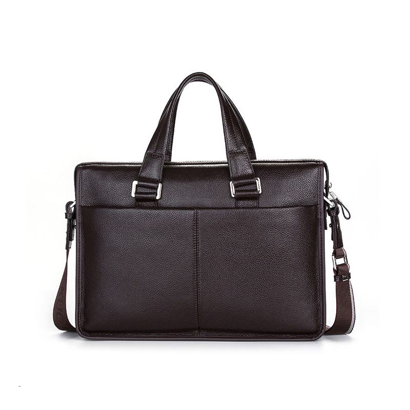 "Classic Brand Name Men Shoulder bag Messenger Bag GENUINE LEATHER Business Bags Black Briefcase for 10-14"" Laptop Notbook"