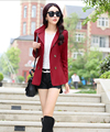 Howdysexy 2016 New Arrival Autumn Trendy Women Slim Short Trench Coat Long-sleeved Double-breasted Women Trench Coat Wine Red