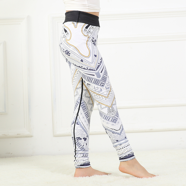 eb67c1f2a614 FRECICI Yoga Chirdren Pants Grey White 3d Printing Girls Leggings Prints  Child Yoga Pants Sports Outfits Activewear Gear 4597