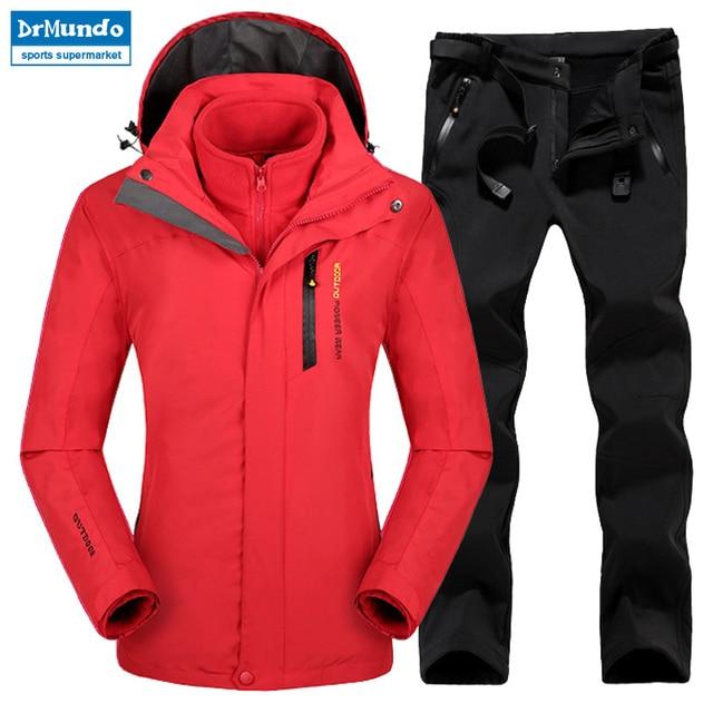 Plus Size Mountain Skiing Ski-wear Waterproof Hiking Outdoor jacket  Snowboard jacket Ski suit Women e4c5f902b261