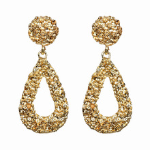 New Design Creative Jewelry High-Grade Water Drop Metal Earrings Gold and Silver Stud Wedding Party for Woman