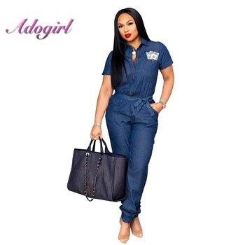 addd7a7e899 Женские синие Европейский комбинезон джинсовый комбинезон боди Большие  размеры отложной воротник пояса комбинезоны