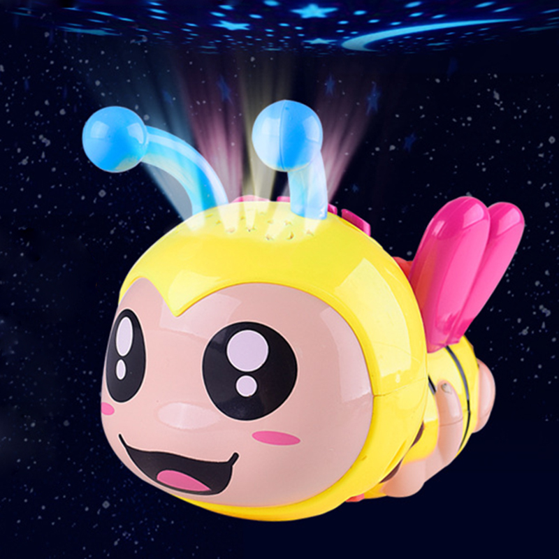 Bee Light Projection Rattles Baby Toys 0-12 Months Educational Toys Music Pacify Toys For Newborns Rattles Baby Toy Mobile