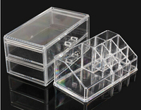 Free shipping ! Fashion Clear Acrylic Crystal Cosmetic Organizer Makeup Case Holder Storage Box Gift