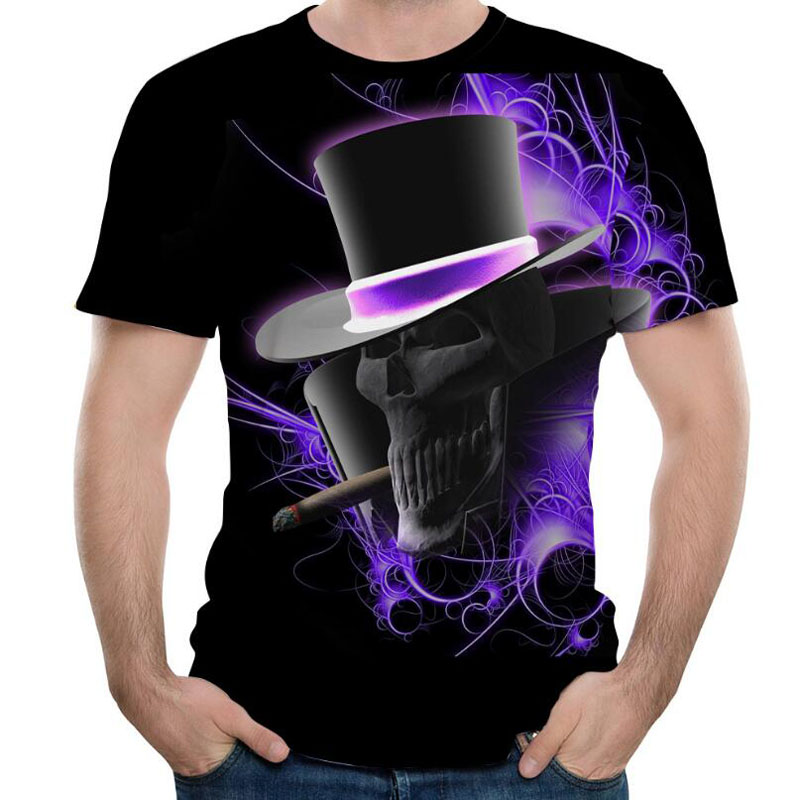 Mens T Shirts Fashion 2019 Summer Loose Tshirt Man High Quality O Neck Short Sleeve T-shirt Men 3D Skull T-shirts Men T Shirts