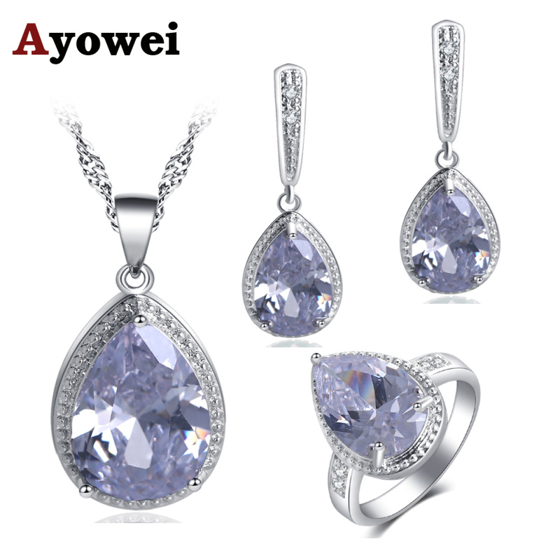 Ayowei Anniversary jewelry Water Drop silver White Zircon White Crystal Necklace Pendant Earrings Jewelry Sets JS735A