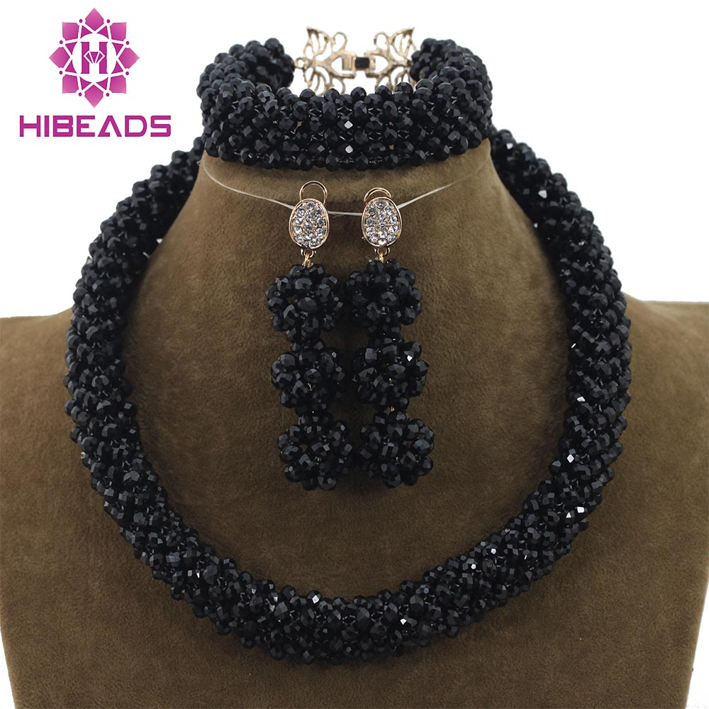 Black Crystal Costume Jewelry Sets Wedding African Bridal Beads Necklace Bracelet Earrings Set Free Shipping WD786 wholesale 5 set bohemian layered geometric strand 3 pcs jewelry sets african beads bridal crystal necklace set bracelet earrings