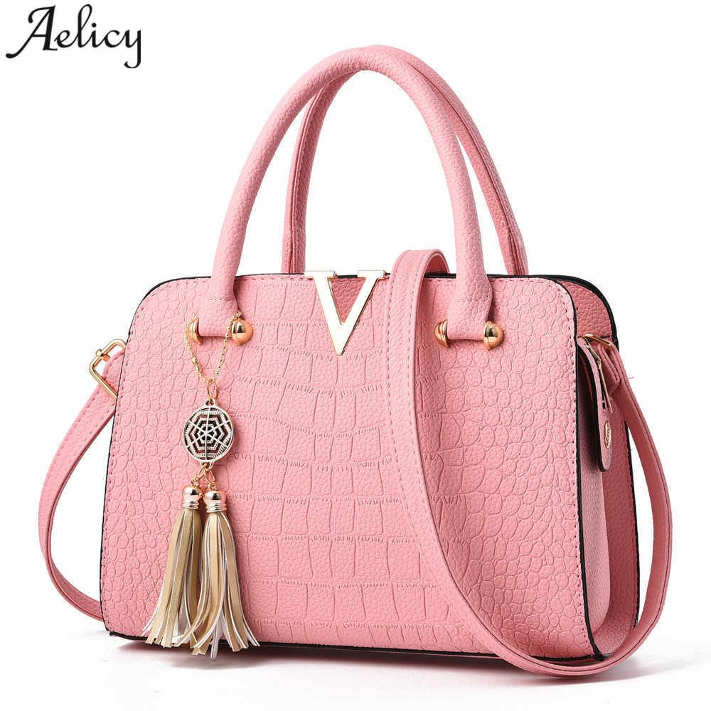 100% QualitäT Aelicy 2018 Luxus Qualität Krokodil Leder Frauen Tasche V Buchstaben Designer Handtaschen Dame Schulter Umhängetaschen Für Frauen