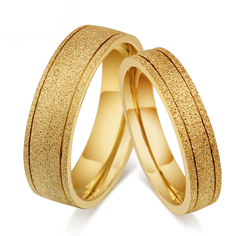 Big Discount 1 Pair Titanium Steel 18K Gold font b Ring b font For Men font