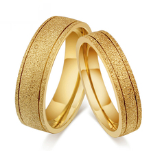 Big Discount 1 Pair Titanium Steel Gold Color Ring For Men Women Lovers Wedding Band Alliance