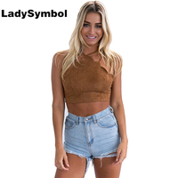 LadySymbol Summer 2017 Cropped Tank Top Women Vintage Brown Faux Leather Suede Sexy Lace Up Camis