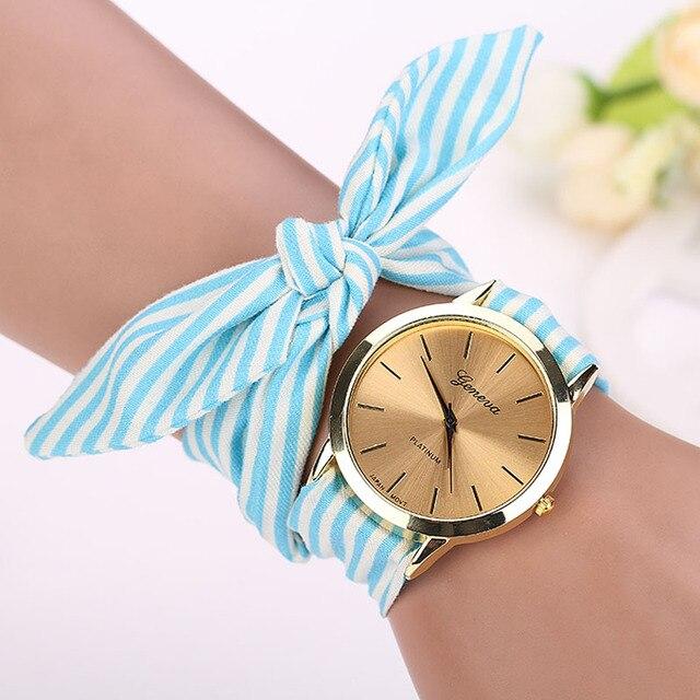Fashion Women's Bracelet Watches Candy color Stripe Floral Cloth Quartz Dial Bra
