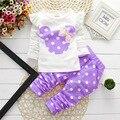 2016 primavera roupa dos miúdos TShirts Minnie Ternos Roupas Roupa Dos Miúdos Do Bebê da criança Dos Desenhos Animados tracksuits Casaco Com Capuz Dot Calças Crianças Definir