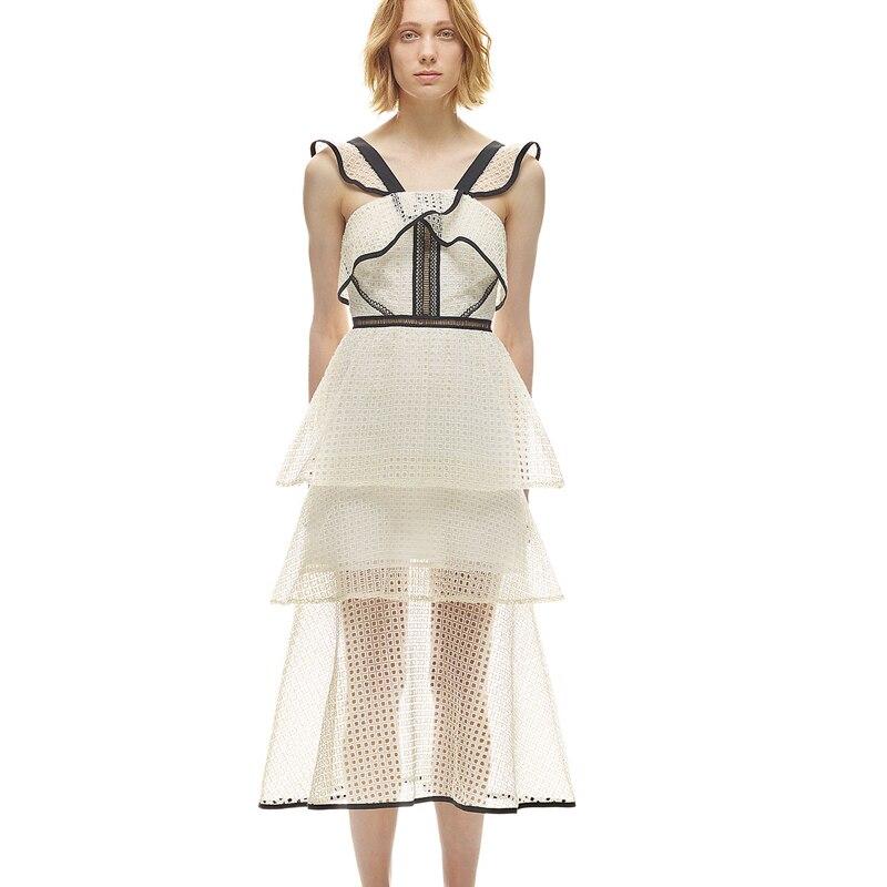 Summer New Arrival 2017 white Lace Dress Womens Hit color retro lace lotus leaf dress L7119