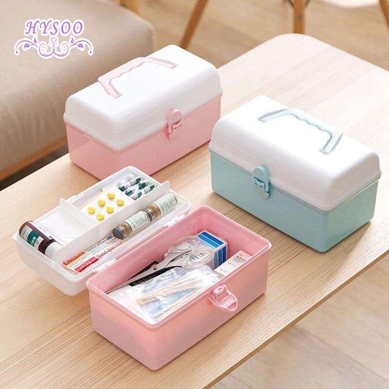 Multi - layer plastic medicine box storage box household emergency medicine storage box trumpet