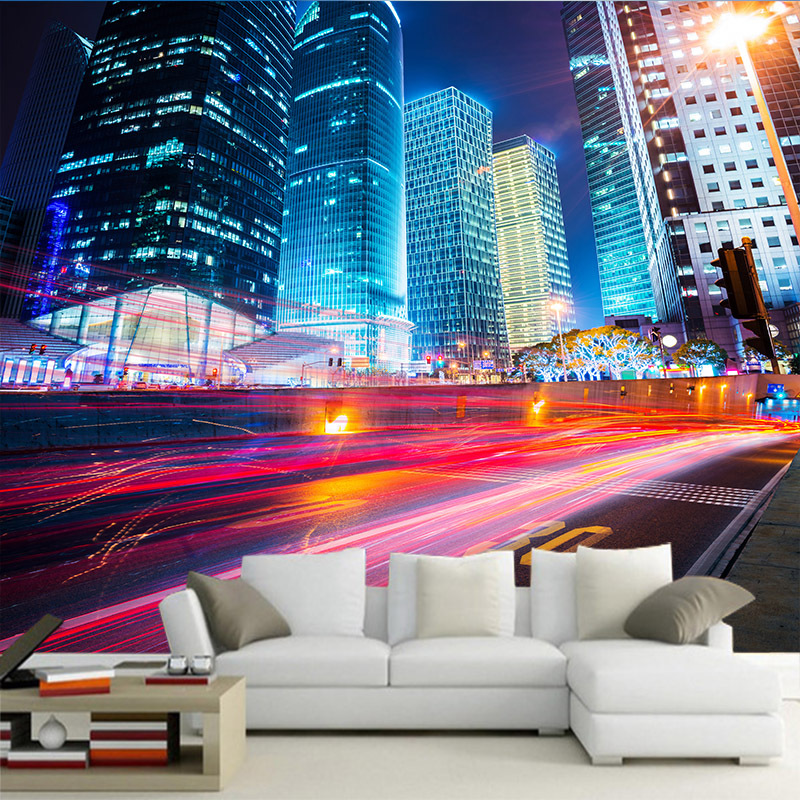 Customized Various Nighttime Imagery Of Cities 3d Mural Silk Cloth Hd Water Proof Wallpaper For Home Wall Restaurant Hotel
