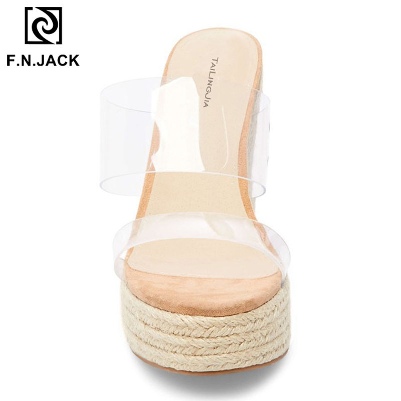 F. N. جاك 2019 عالية الكعب الأحذية النسائية الصيف صناديل للنساء الأزياء مفتوحة اصبع القدم النعال الإناث أسافين صندل-في شباشب من أحذية على  مجموعة 3