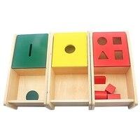 Unisex Baby Montessori Educational Toys Wooden Imbucare Boxs Set Red Geometrics Box Green Round Box Yellow Knitted Ball Box 2 4