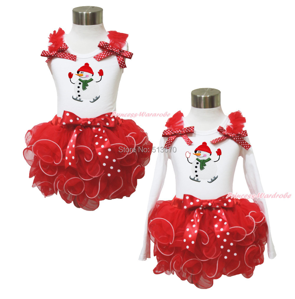 XMAS Snowman White Top Baby Girl Red Petal Pettiskirt Outfit Set NB-8Y MAPSA0057 цены онлайн